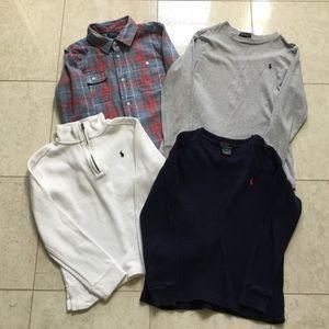 4 pc Lot RALPH LAUREN sweater plaid shirt tee 7